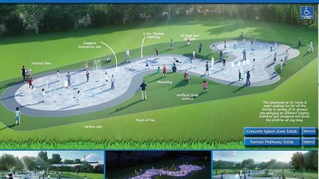 An image of what the splash pad could look like. Councillors are pushing for Riverside Park to be th