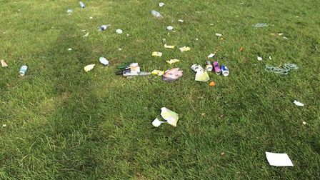 Rubbish left behind in Clarence Park at the weekend. Picture: Clarence ward Liberal Democrats