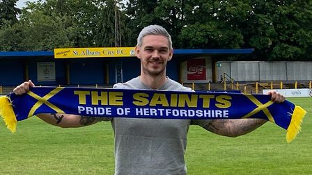 Tom Bender is among the first three players to re-sign with National League South St Albans City. Pi