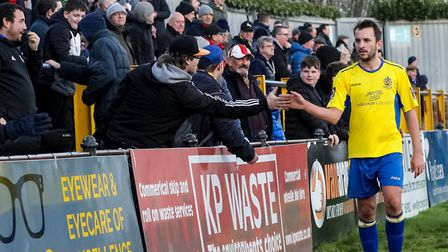 Sam Merson salutes the fans after the game against Welling United in February. Picture: JIM STANDEN
