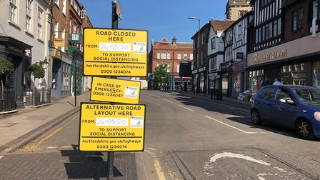 Road closures have been introduced in St Albans city centre to promote social distancing.