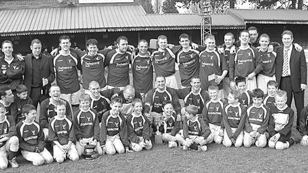 Park Street line-up with the Park Street Youth team after winning the Bingham Cox Cup in 2005. Pictu