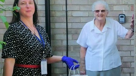 Kate, Peterborough community warden, at the home of Margot, one of the service users. Picture: AGE U
