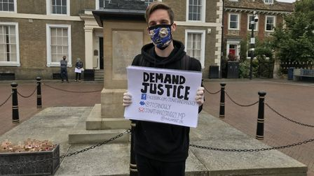Samuel Sweek organised the Black Lives Matter protest in Huntingdon on Sunday,