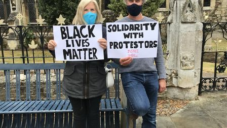 Neil and Dara Hopkins from St Ives attended the BLM protest in Huntingdon