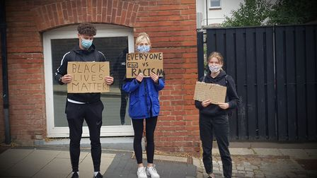 Students protesting how Black Lives Matter in St Albans.