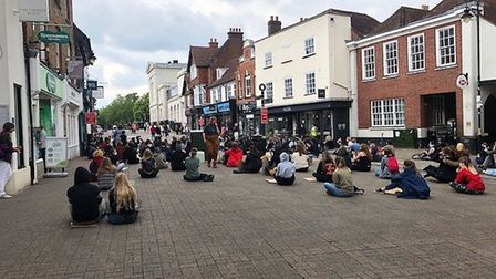 Students hold a peaceful protest in support of Black Lives Matter in St Albans.
