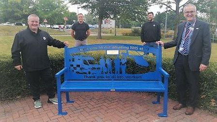 Striking bench dedicated to NHS staff presented to Hinchingbrooke Hospital by Don't Panic Promotions