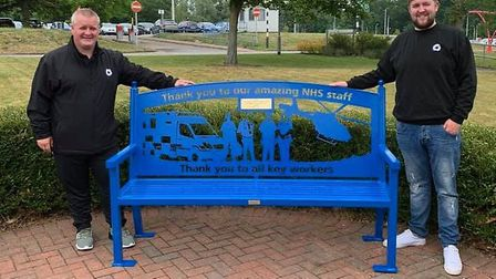 Striking bench dedicated to NHS staff presented to Hinchingbrooke Hospital by Dont Panic Promotions.