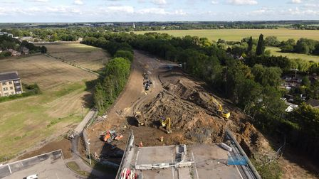 Check out work in progress on the A14 at Huntingdon from the air