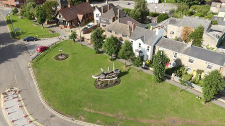 Huntingdon Town Council's Mayflower installation on Mill Common