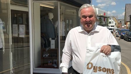 MP Sir Oliver Heald shopping in Royston town centre. Picture: @OliverHealdUK