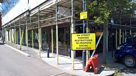 Measures have been put in place to aid social distancing in Royston town centre. Picture: David Hatt