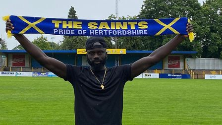 Dave Diedhiou has agreed to stay with St Albans City for another National League South season. Pictu