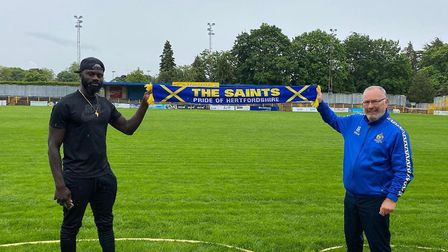Dave Diedhiou with St Albans City manager Ian Allinson. Picture: ST ALBANS CITY FC