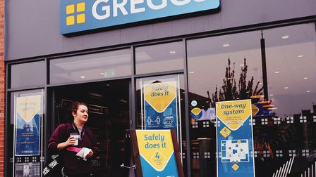 New-look Greggs stores, with floor markings, protective clothes for staff and screens at counters to