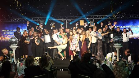 All of this year's Hertfordshire Business Awards 2019 winners on stage at the event of the gala nigh