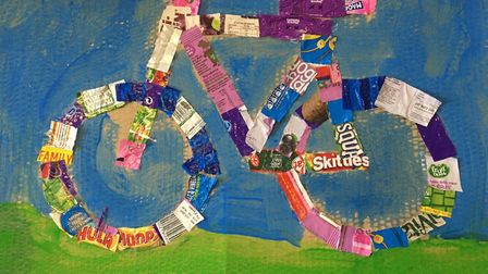 Jessica, age nine, made a collage of a bike for the Sustainable St Albans lockdown competition. Pict