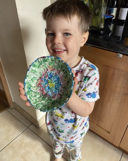 Josh made a papier maché bowl for the Sustainable St Albans lockdown competition. Picture: Supplied