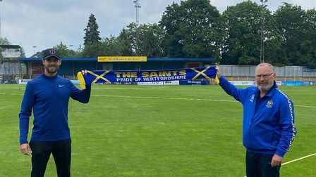 Michael Clark (left) and St Albans City manager Ian Allinson. Picture: ST ALBANS CITY