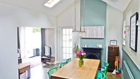 A vaulted ceiling gives the dining room a light and airy feel. Picture: Paul Barker Estate Agents
