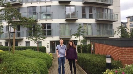 Chris and Lisa Rogers have raised concerns over the cladding on their building, Opus House. Picture: