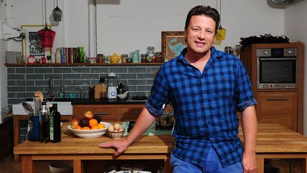 Chef Jamie Oliver in a kitchen in London. Photograph: Ian West/PA.