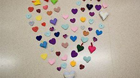 Knitted Hearts sewn for patients at Hinchingbrooke Hospital PICTURE: Hinchingbr