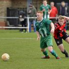 Huntingdon Town man Archie Sayer in action against Blackstones. Picture: DUNCAN LAMONT