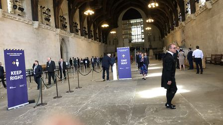 Queing MPs in the House of Commons.
