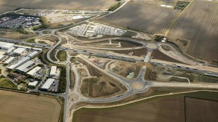 The A14 around Huntingdon from the air
