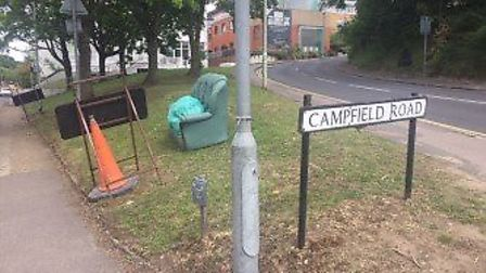 A sofa and some other rubbish has been dumped on Campfield Road, St Albans. Picture: Supplied