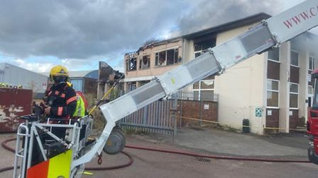 Sixty firefighters battle blaze at industrial building in Gamlingay. Picture: CAMBS FIRE