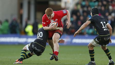 Ralph Adams-Hale of Saracens during the Premiership Rugby Cup Final between Northampton Saints and S