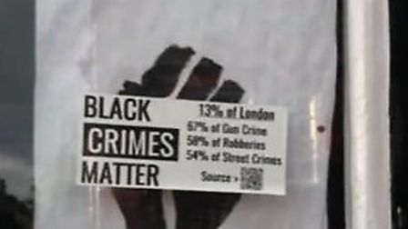 The 'Black Crimes Matter' sticker, a racist parody of 'Black Lives Matter' was stuck to a window of