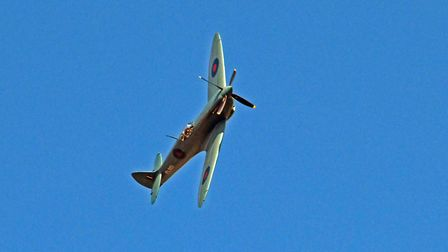 The Spitfire in the sky over Hinchingbrooke Hospital today (Sunday)