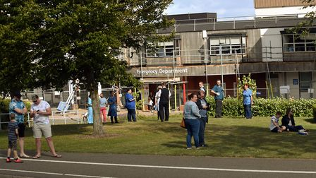 Staff and the public gathered outside the front of the hospital to watch the flypast.