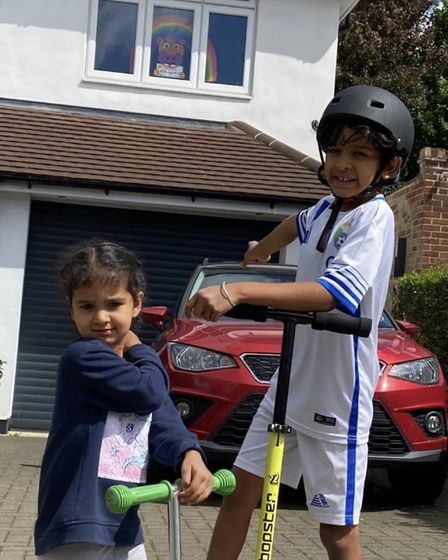 Gian and Banni Chohan were two lucky winners of the St Albans Rainbow Trails Hope the Hippo competit