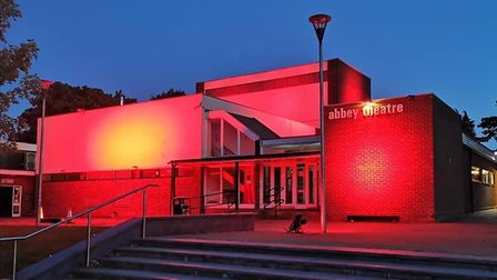 The Abbey Theatre in St Albans was lit up in red as part of the Light It In Red campaign. Picture: A