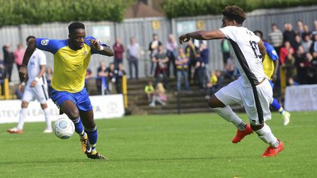 New St Albans City signing Shaun Jeffers faces up to Rhys Murrell-Williamson while playing for Boreh