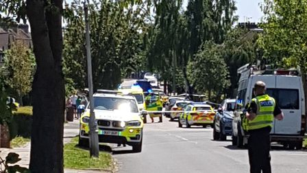 Police have cordoned off Woodland Drive following reports of a stabbing. Picture: Louise Fogerty
