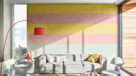 Summer chic: Room set painted with Dulux paint, featuring Dulux Copper Blush, Dulux Tranquil Dawn an