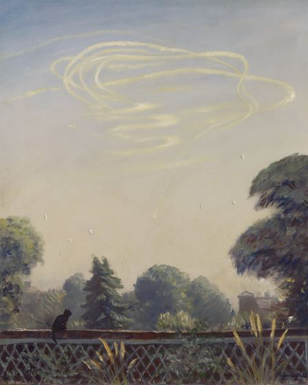 Francis Dodd's 1940 masterpiece 'An Aerial Battle' depicts trails of an aircraft circling in a large