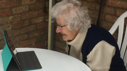 Eva Baynham was presented with a laptop so she could talk to her family.