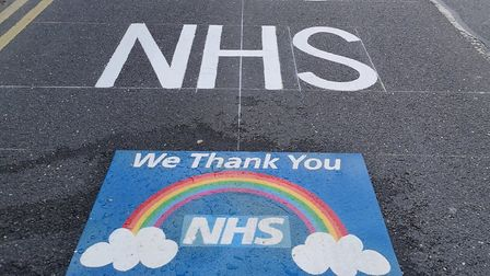 An NHS thank you was painted on the road at Hinchingbrooke Hospital.