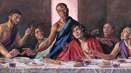 A Last Supper by Lorna May Wadsworth depicts Jesus has a black man. Picture: Lorna May Wadsworth