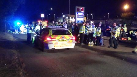 Emergency services at the scene of the crash in Monkswood Way, Stevenage last year. Picture: Magpas