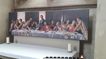 The painting of a black Jesus at the altar of St Albans Cathedral.