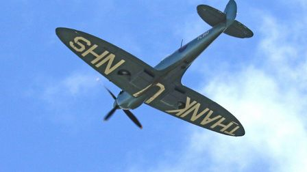 Peter Rawlings took this pic of the NHS Spitfire as it flew over Hinchingbrooke Hospital.