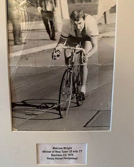 A photo of care home resident Malcolm Wright, during his cycling career